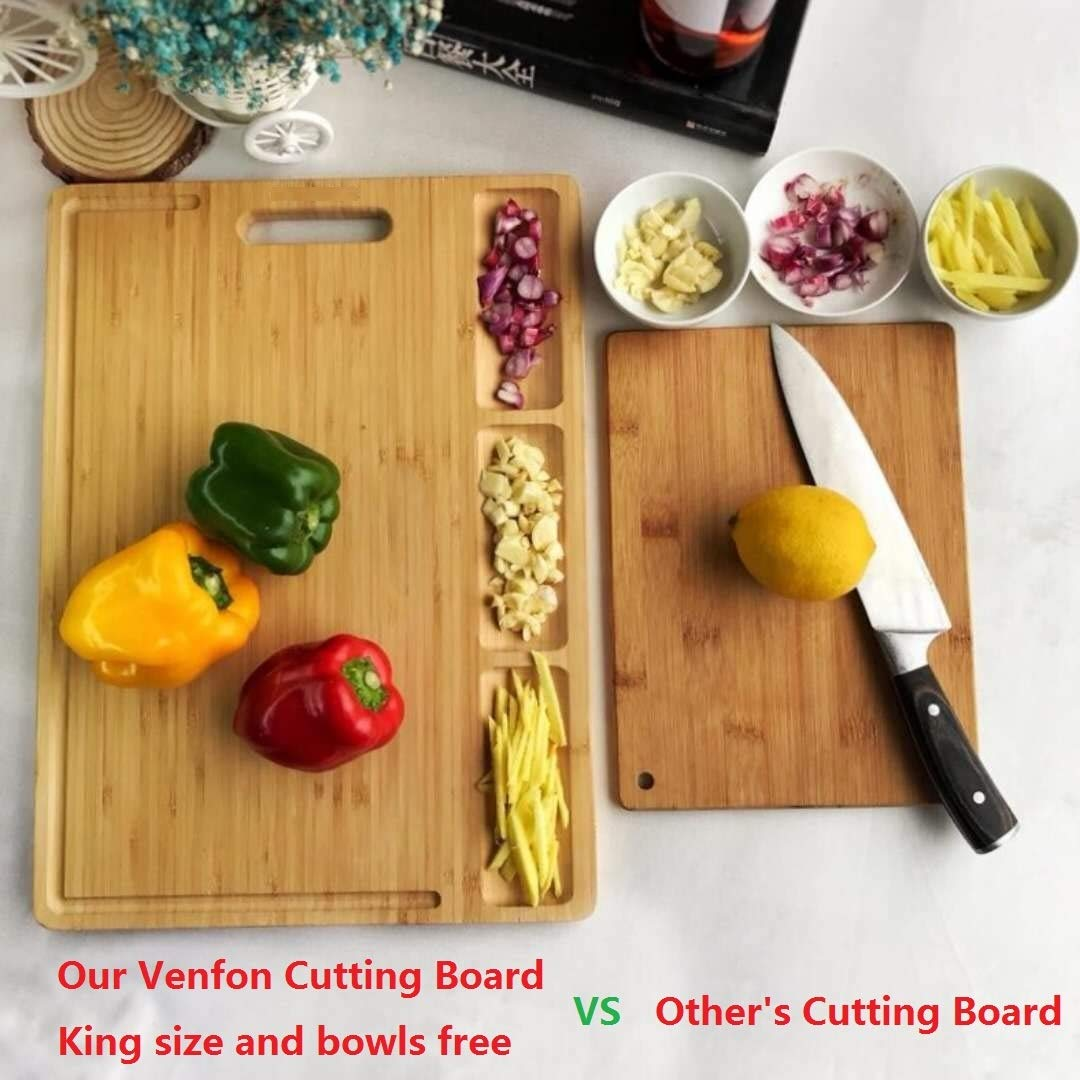 HHXRISE Venfon Large Organic Bamboo Cutting Board For Kitchen, With 3 Built-In Compartments And Juice Grooves, Heavy Duty Chopping Board For Meats Bread Fruits, Butcher Block, Carving Board, BPA Free by HHXRISE (Image #4)