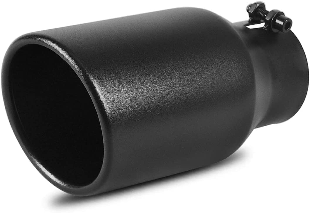 AUTOSAVER88 3 Inch Inlet Black Exhaust Tip, 3 x 4.5 x 9 Black Paint Finish Stainless Steel Material Exhaust Tip, Bolt-On Installation Design.
