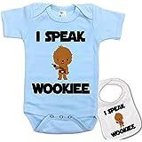 """ I Speak Wookee "" Custom Printed Star Wars Baby bodysuit onesie & Matching bib"
