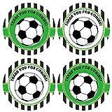 Soccer Ball Thank You Sticker Labels - Boy Girl Children Birthday Baby Shower Party Supplies - Set of 30
