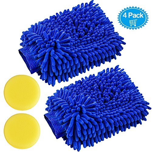 4 Pack Car Wash Mitts - Premium Chenille Microfiber Scratch-Free Cleaning Gloves - Ultra-soft Polishing Cloth,Double Sided,Use Wet or Dry