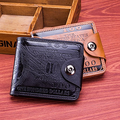 Sibalasi-New Men's US Dollar Wallet Bill Money Bifold Safe Purse With Magnetic Buckle (Black)