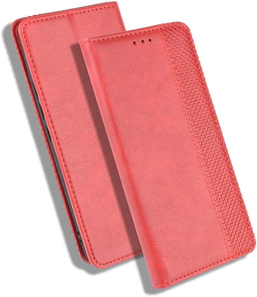 HAOTIAN Leather Folio Funda para ZTE Smartphone Blade A3 2020 Funda, Flip Wallet Carcasa Tipo Libro Protector Magnético y Plegable de PU + TPU Soporte de Ranuras para Tarjetas, Rojo