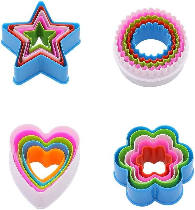 Cookie Cutters Set of 20 pcs, Food Grade Plastic Cookie Mold, Colorful Design Cartoon Baking Mold Pastry Biscuit Cake Fondant Mould Kitchen Tool for Baking DIY (Heart + Round + Star+ Flower)