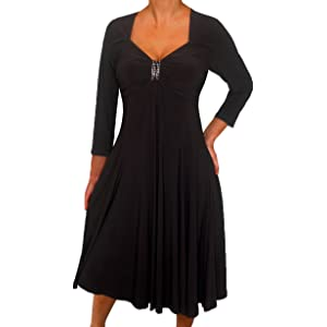 32102f9d84aa4 Funfash Plus Size Women Long Sleeves Empire Waist A Line Midi Dress Made in  USA