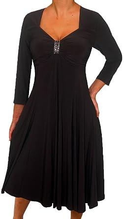 776c479a04 Funfash KL09 Plus Size Women Long Sleeves Empire Waist Cocktail Cruise Dress  XL Black