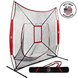 LuxSports 7X7 Commercial Grade Heavy Duty Baseball&Softball Practice Net with bow frame, Strike Zone, Premium Carrying Bag and Stakes for Hitting, Pitching, Fielding and More
