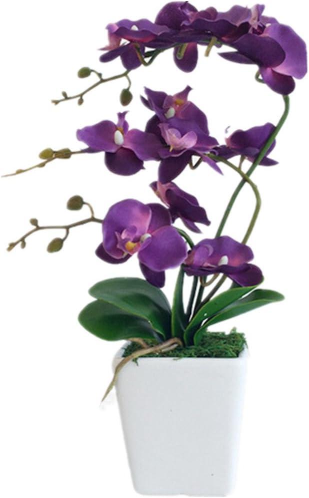 Artificial Purple Orchid Plant in a White Ceramic Pot