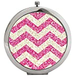 Snaptotes Pink Printed Sparkle Design Trendy Compact Mirror