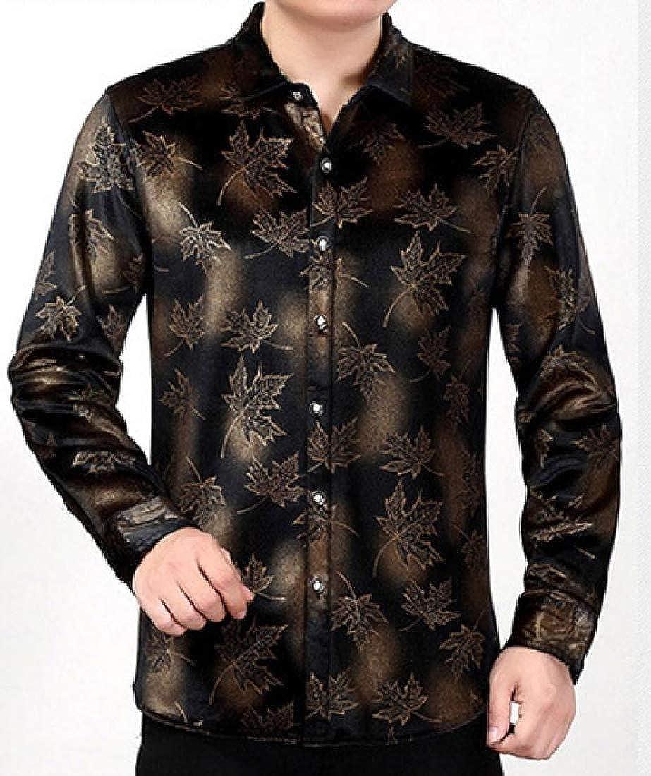 Tootless-Men Point Collar Regular Fit Velour Velvet Woven Shirt