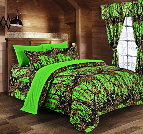 Regal Comfort The Woods Bio Hazard Green Camouflage Queen 8pc Premium Luxury Comforter, Sheet, Pillowcases, and Bed Skirt Set Camo Bedding Set for Hunters Teens Boys and Girls ()
