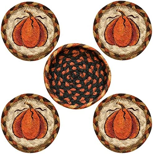 Earth Rugs 29-CB222HP Coaster Set, 5 , Orange