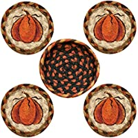 Earth Rugs 29-CB222HP Harvest Pumpkin Design Round Jute Basket with 4-Printed Coasters, 5