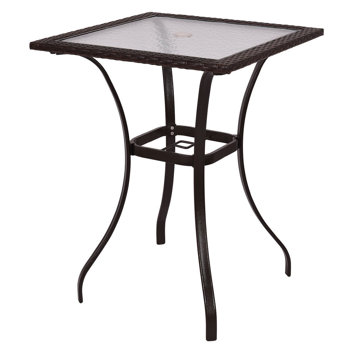 GoodGoods LLC Bar Square Table Glass Modern and Useful Outdoor Patio Rattan Wicker Top Yard Garden Furniture New by GoodGoods LLC (Image #1)