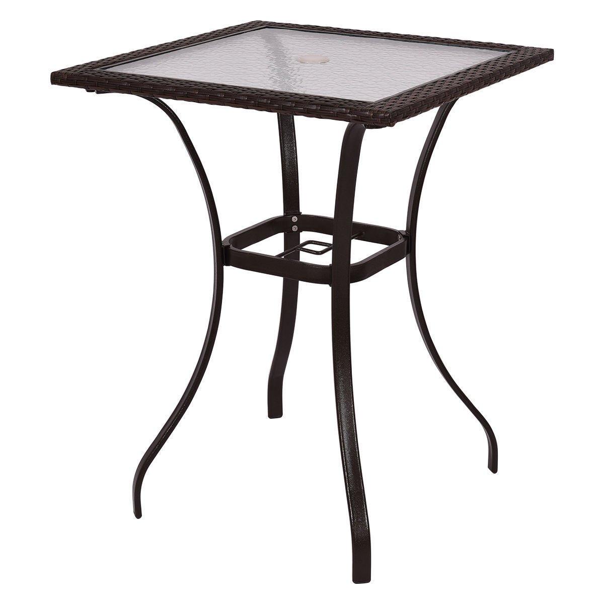 GoodGoods LLC Bar Square Table Glass Modern and Useful Outdoor Patio Rattan Wicker Top Yard Garden Furniture New