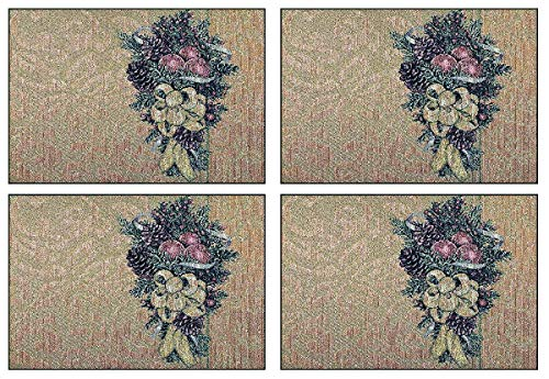 Manual Christmas Bows Holly Berry Woven Tapestry Placemats TCBGLP 18.5x13