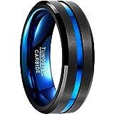 Nuncad Ring Herren/Damen Wolframcarbid Außenbreite 8mm bequem, Men Fashion Schmuck Ehering/Verlobungsring/Freundschaftsring/Lifestyle Ring, schwarz+blau, Größe 49 bis 77