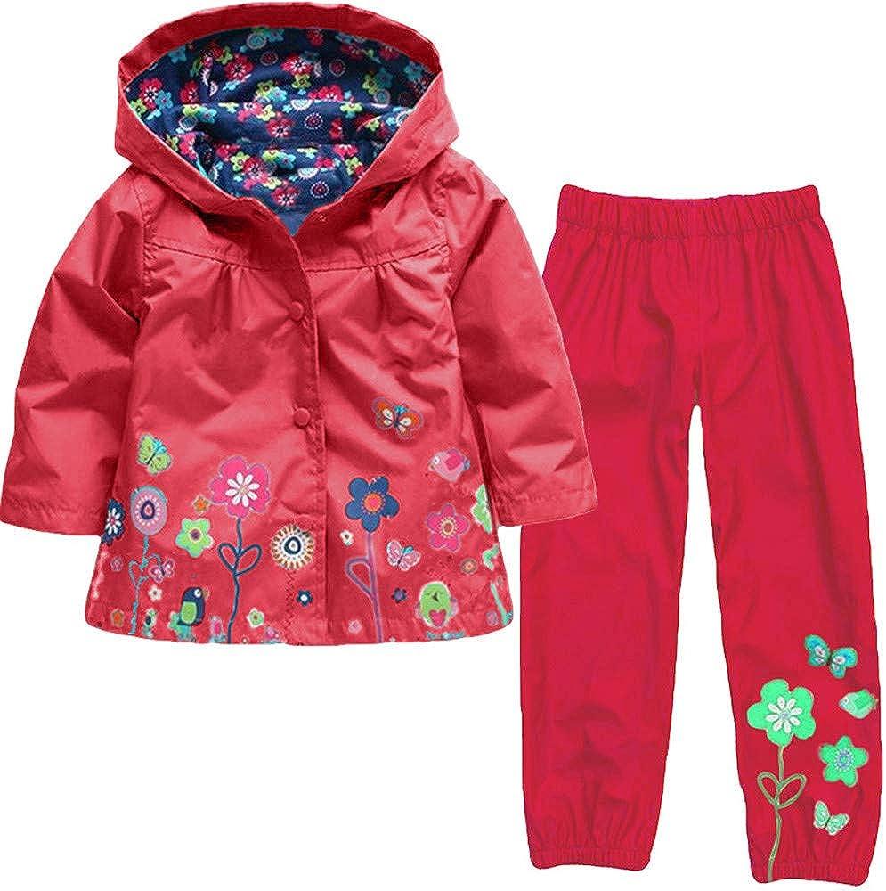 H.eternal Baby Girls Boy Hooded Coat Jacket /& Overtrousers Outwear Raincoat Suit Super Waterproof Carton Outdoor Lightweight Cagoule
