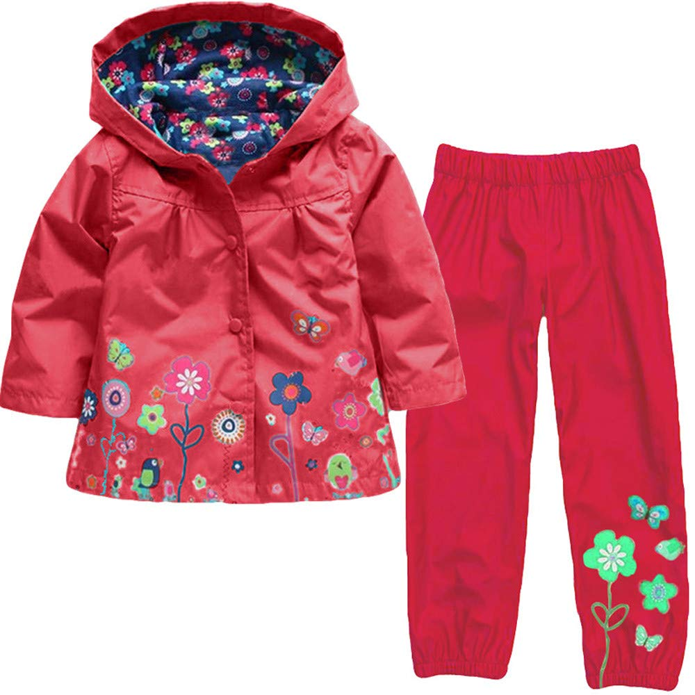 Boys Girls Raincoats Suit Waterproof Hooded Raincoat Jacket Printed Coat Trousers Outerwear Set