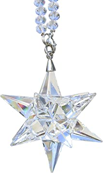 Amazon Com Qf Crystal Ornament Clear Christmas Hanging Crystal Star Decorations Glass Pendant Collectible Star Decor Furniture Decor