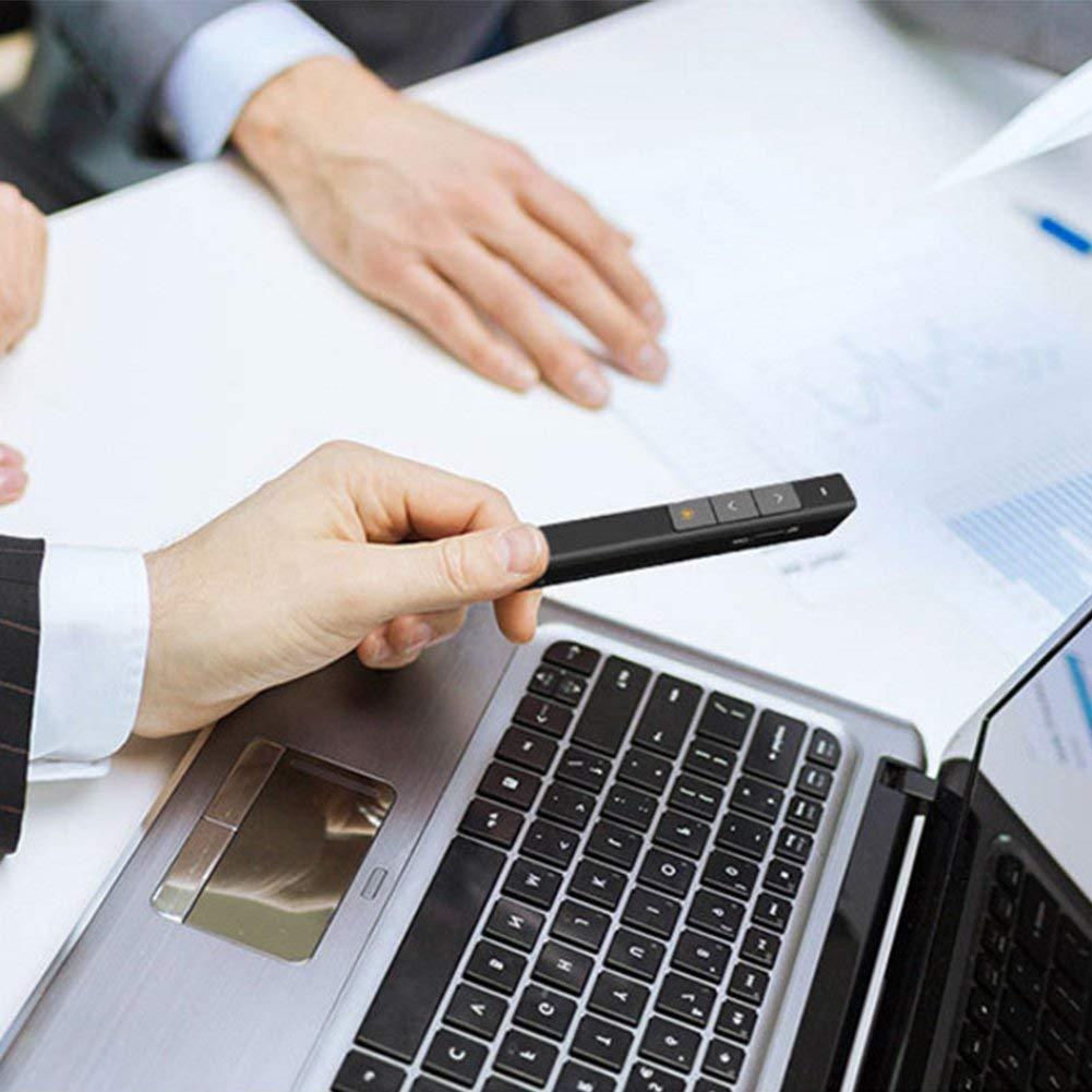 Wireless Presenter Black RF 2.4GHz Powerpoint Clicker Presentation Remote Control Pen USB Control PPT Clicker Flip Pen with Laser Pointer