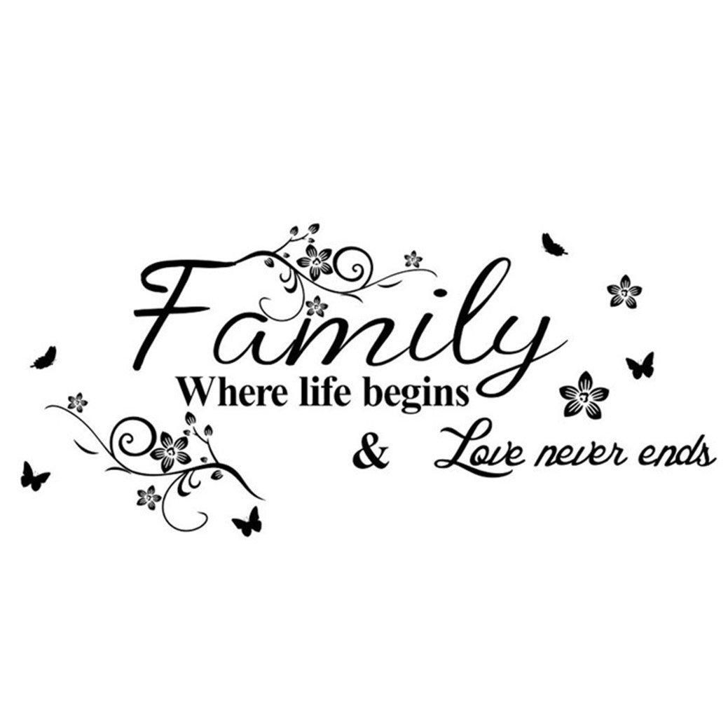 TIFENNY Hot Art Family Beautiful Flower Wall Stickers Home Words Decor Wall Sticker by TIFENNY (Image #4)