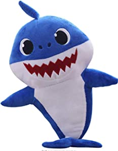 Music Sound Baby Shark Plush Doll Soft Plush Toy Singing English Song Gifts for Children Children (Blue)