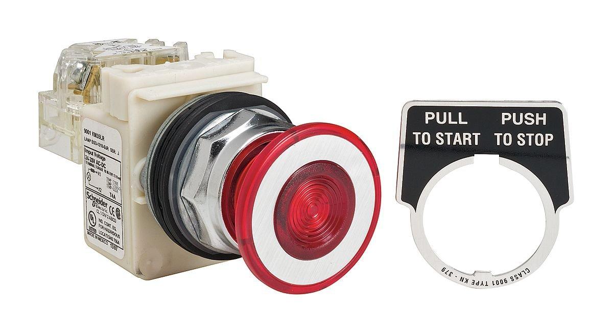 SCHNEIDER ELECTRIC 9001KR9P35LRRH13 Push Button 600-Vac 10-Amp 30Mm T-K Electrical Box