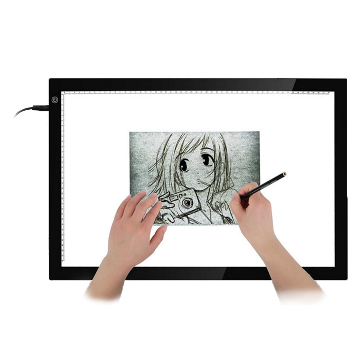 A3 Portable LED Drawing Board Protezione occhi Touch Dimmable Tracing Table Light Pad Box per 2D Animation Sketching, Bianco e nero Dailyinshop