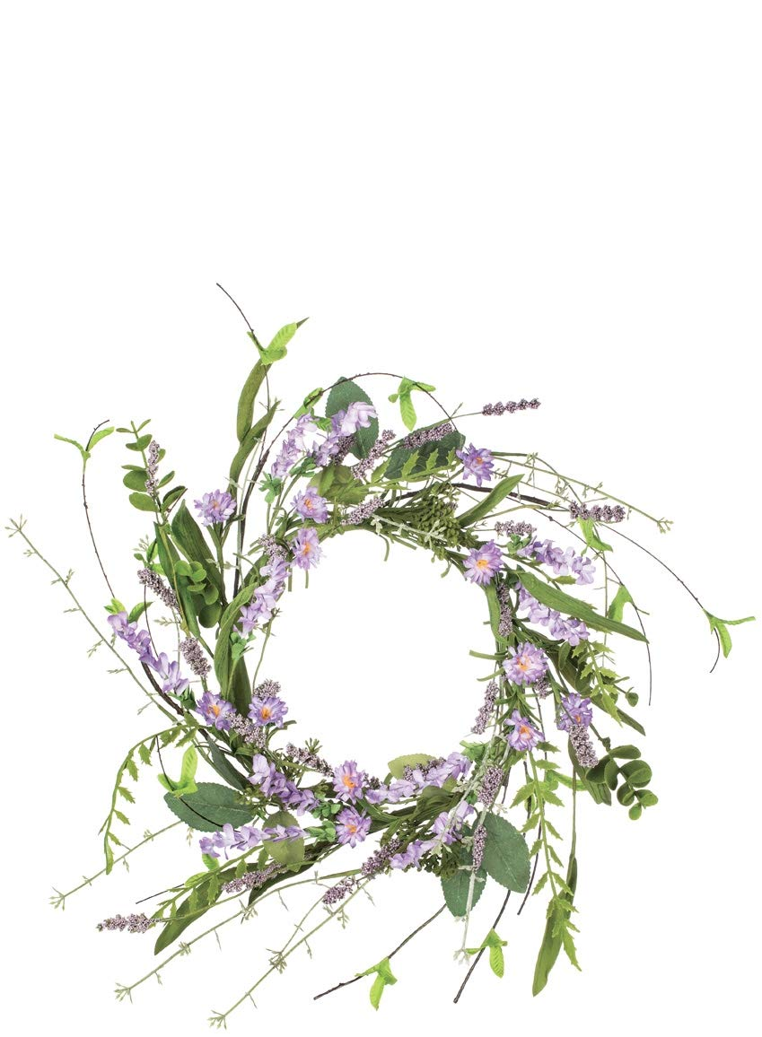 Sullivans Artificial Lavender Candle Ring Wreath, 12''