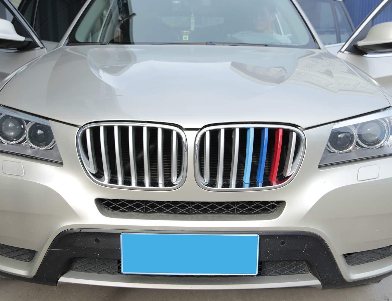 Per X3 X4 f25 F26 2011-2017 Coperchio anteriore griglia Trim ABS cromato Paillettes Accessori auto