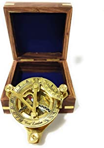 """Nautical-Mart 4"""" Sundial Compass Solid Brass Sun Dial (with Wooden Box)"""