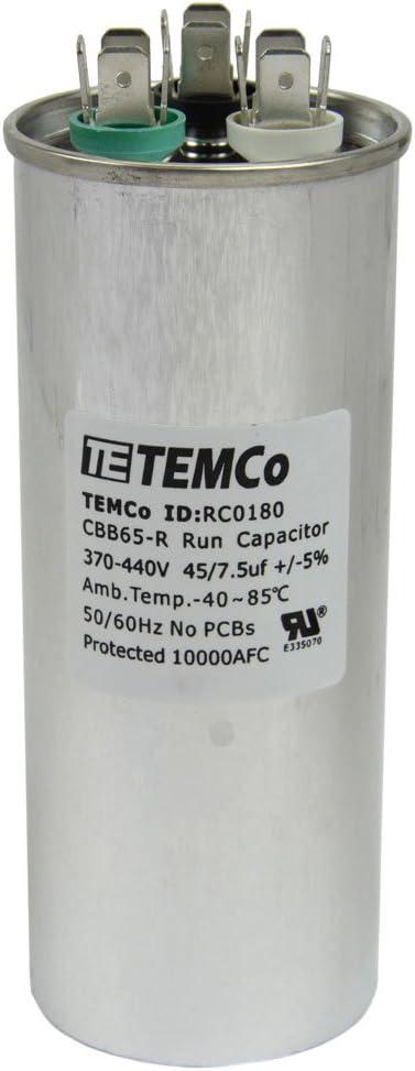 TEMCo Motor Dual Run Capacitor RC0180-370-440 VAC Volts 7.5 uf Round 50/60 Hz AC Electric - Lot-1