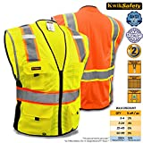 KwikSafety Class 2 Yellow Deluxe Safety Vest | Hi Vis Breathable Mesh, Heavy Duty Zipper & Multi Pockets | High Visibility Men Women ANSI Certified Construction Security Traffic Work Wear| L/XL