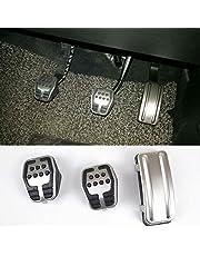 Suparee - Cubierta de acero inoxidable con goma antideslizante para pedal de embrague - freno -
