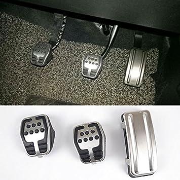 Suparee - Cubierta de acero inoxidable con goma antideslizante para pedal de embrague - freno - acelerador, estilo carrera, ligera - fuerte: Amazon.es: ...
