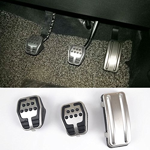 SUPAREE Car Pedal Pad Cover Accelerator Brake Clutch Stainless With Non-Slip Rubber,Race style, lightweight and strong pedal cover