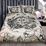 Sleepwish Vintage Skulls Bed Set Funny Skeleton Rose Heart Bedding Duvet Cover Mexico Skull Bed Spreads (Gothic Skull Couple, Queen)