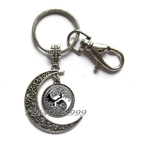 Amazon.com: Yin Yang Luna llavero del árbol de la vida ...