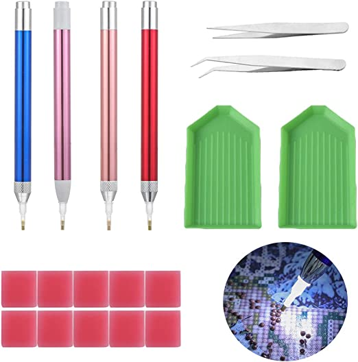 Diamond Painting Embroidery Tool Tweezers Point Accessories Stainless  2pcs