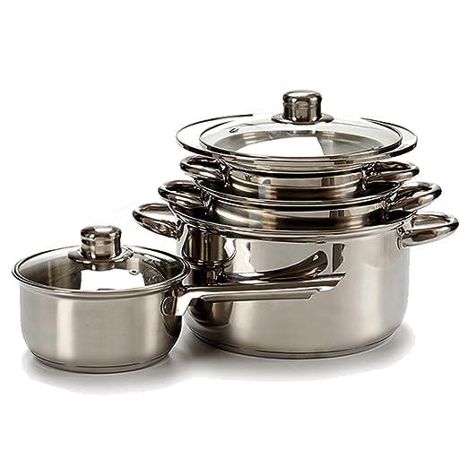 TU TENDENCIA ÚNICA Batería de cocina de acero inoxidable de 7 piezas apta para todas las cocinas. Compuesta por 1 Cazo y 3 Cacerolas con tapa de ...