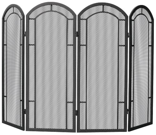 Uniflame 4-Fold Wrought Iron Screen, Black