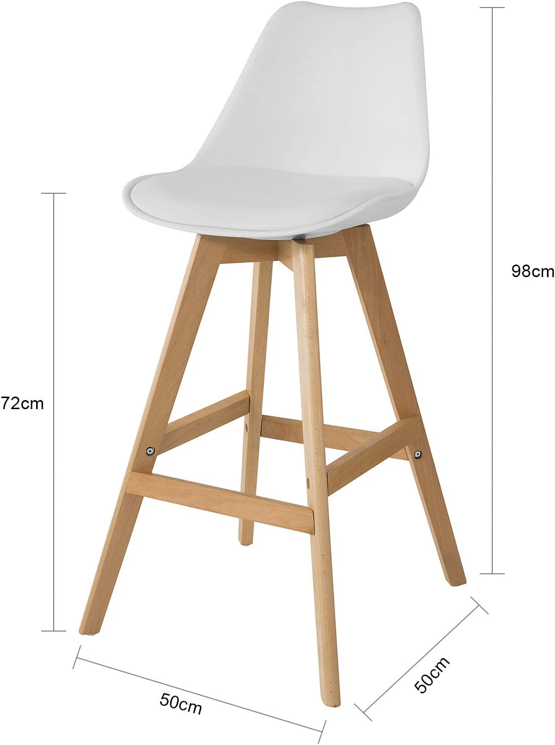 Bar Stools with PU Leather Padded Seat /& Beech Wood Legs SoBuy/® FST69-Wx2 Set of 2 Kitchen Breakfast Barstools