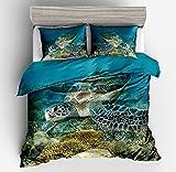 Jwellking 3D Turtle Bedding Sets Cover for Duvet Kids,3 Piece Twin size Duvet Cover Set 1 Duvet Cover+2 Pillow Shams