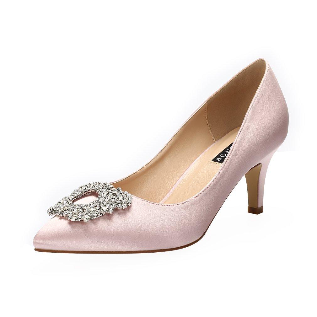 ERIJUNOR Women's Pumps Low Heel Rhinestone Brooch Satin Evening Dress Wedding Shoes B074NSBM6R 7 B(M) US Blush
