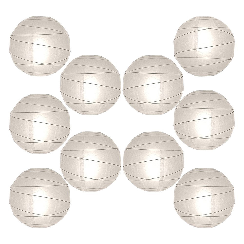 """12"""" Paper Lanterns Decor Value Pack, 10 Round White Hanging Orbs for Decorating Weddings, Parties & Special Event Venues"""
