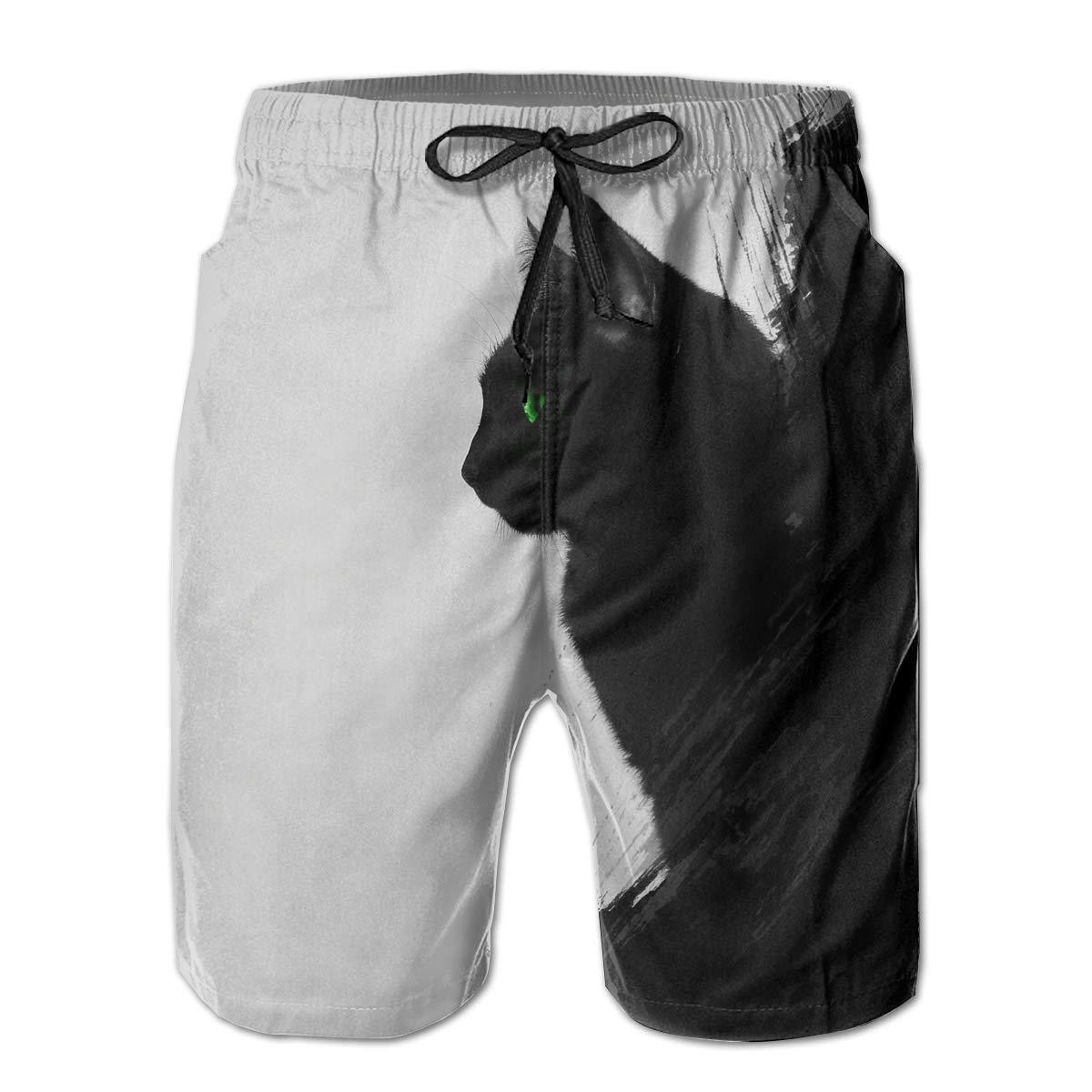 b5476058a3db9 White Mens Black Black Black Cat Shorts Lightweight Swim Trunks Beach  Shorts,Boardshort 81f4ff