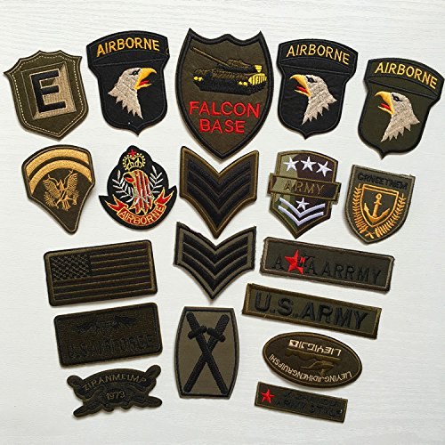 Assorted Army Men (FairyMotion Super Quality 9Pcs Military Sets Embroidered Patches For Clothing Stripes Sew Iron On Clothes Patch Motorcycle Army Appliques Perfect)