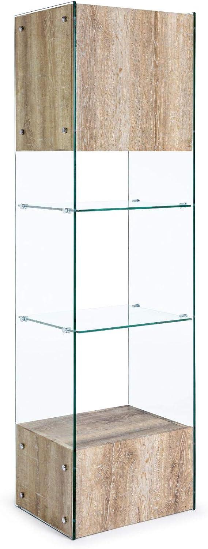 ARREDinITALY - Librería de 182 cm de Altura. Cristal con Detalles de Acabado de Madera.: Amazon.es: Hogar