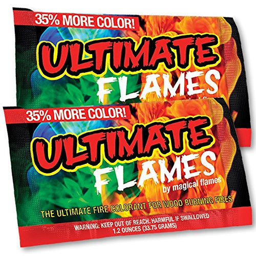 Ultimate Flames - Pack of 12 - 35% More Color - Magic Flames - Colored Flames - Long Lasting Campfire Flames - Wood Burning - Brilliant Colors - Safe Fire Colorant - No Mess - Indoor and Outdoor Use